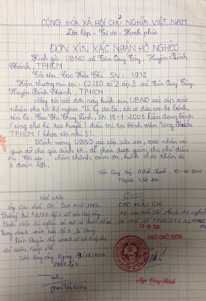 Đơn xác nhận hộ nghèo của gia đình anh Cao Hữu Chí