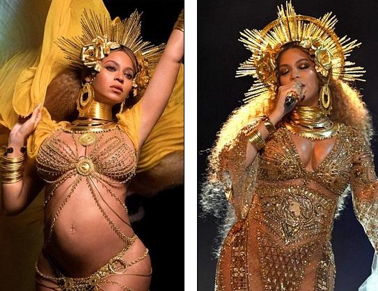 Beyonce đẹp như nữ thần khi trình diễn 2 bản hit Love Drought và Sandcastles tại lễ trao giải Grammy năm nay.