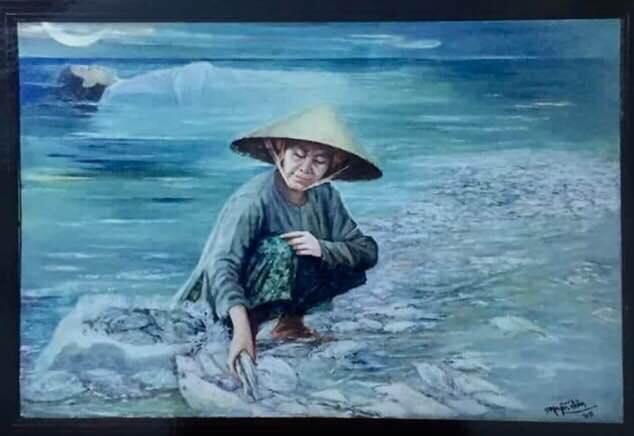 Tác phẩm Biển chết của hoạ sĩ Nguyễn Nhân. Ảnh: TL.