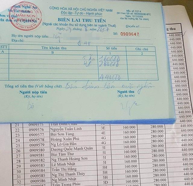 Biên lai thu tiền học phí 8 ngày học kể từ ngày tựu trường 23/8 tại Trường Mầm non Hưng Lộc (TP Vinh). Với 8 ngày học, mỗi cháu phải đóng 240 nghìn đồng, cao hơn mức học phí một tháng theo quy định
