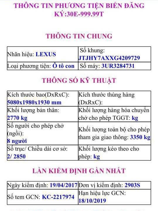 Thông tin về xe Lexus 570 từng sở hữu biển số 30E-999.99 hồi tháng 4, được cập nhật trong hệ thống dữ liệu của Cục Đăng kiểm Việt Nam