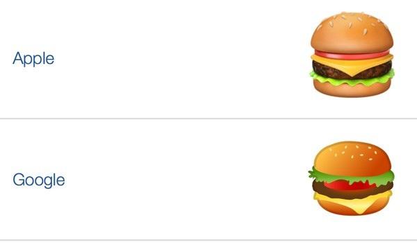 Hình ảnh so sánh biểu tượng chiếc bánh burger phô mai của Apple và Google, với sự khác biệt với vị trí đặt miếng phô mai màu vàng