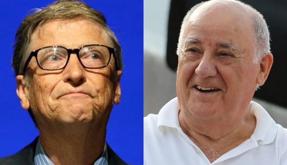 Tỷ phú Amancio Ortega (bên phải) hiện đang là người giàu nhất thế giới với khối tài sản nhiều hơn 200 triệu USD so với tỷ phú Bill Gates. (Nguồn: Forbes)