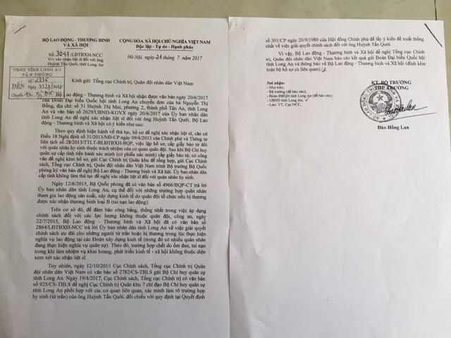 Công văn trả lời của Bộ LĐTB&XH đề nghị Tổng cục Chính trị, Quân đội nhân dân VN báo cáo kết quả gửi Đoàn Đại biểu Quốc hội tỉnh Long An và thông báo về Bộ LĐTB&XH