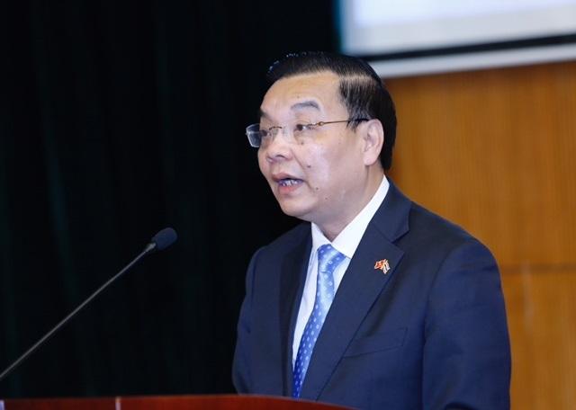 Bộ trưởng Chu Ngọc Anh phát biểu mở đầu tại buổi thuyết trình của Giáo sư Göran Roos.