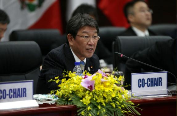 Bộ trưởng Tái thiết Kinh tế Nhật Bản Toshimitsu Motegi phát biểu tại hội nghị bộ trưởng TPP ở Đà Nẵng ngày 9/11 (Ảnh: Reuters)