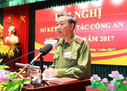 Thượng tướng Tô Lâm, Uỷ viên Bộ Chính trị, Bộ trưởng Bộ Công an phát biểu khai mạc Hội nghị.