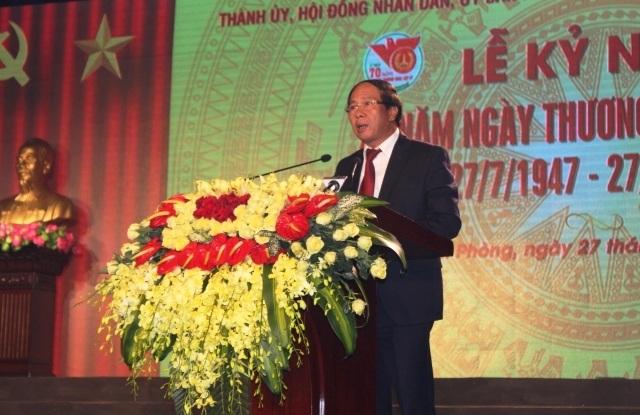 Ông Lê Văn Thanh, Bí thư Thành ủy đọc diễn văn tại Lễ kỷ niệm (ảnh Cổng TTĐT thành phố)