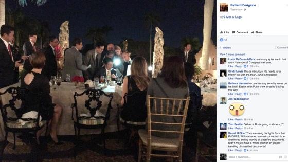 Ảnh chụp Tổng thống Trump và Thủ tướng Nhật tại bàn tiệc cùng hai phu nhân và quan khách tại bàn tiệc thời điểm có tin tức Triều Tiên phóng thử tên lửa. (Ảnh: Facebook)