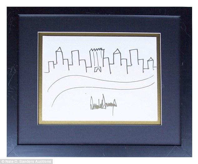 Bức ký họa của ông Trump. (Ảnh: Nhà đấu giá Nate D. Sanders )