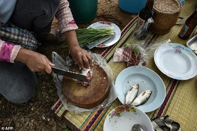 Người dân Thái đang chế biến món Koi pla