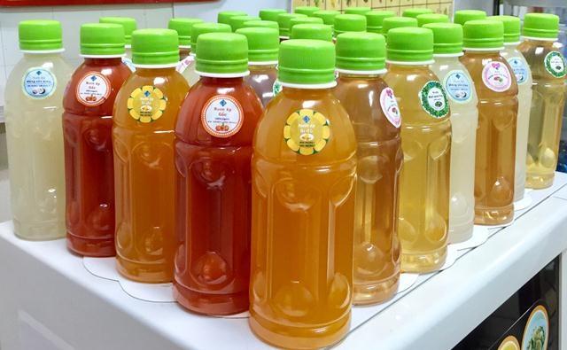 Các sản phẩm nước uống từ nguyên liệu thật được cô Thủy nghiên cứu và sản xuất