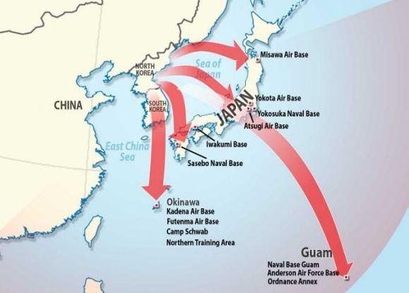 Ngoài căn cứ quân sự ở Guam, nhiều căn cứ quân sự của Mỹ ở Thái Bình Dương nằm trong tầm bắn của tên lửa Triều Tiên. (Ảnh: Dailymail)
