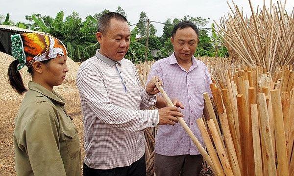 Việc sản xuất cán chổi từ phụ phẩm bỏ đi từ gỗ cho thu nhập mỗi năm hàng tỷ đồng