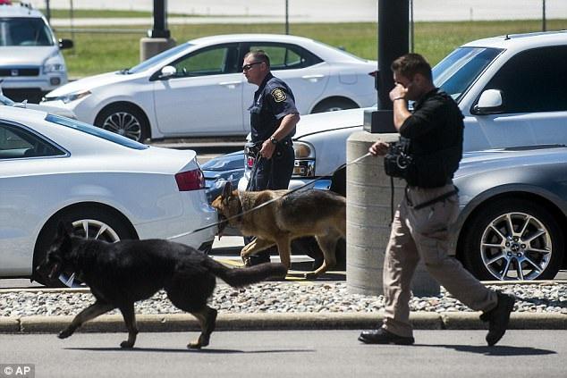 Cảnh sát và chó nghiệp vụ được điều động tới hiện trường vụ tấn công tại sân bay Bishop (Ảnh: AP)