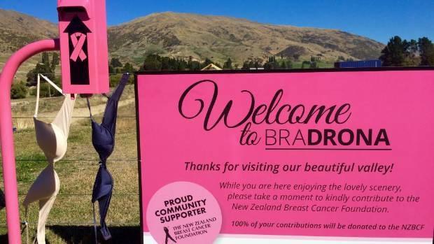 Tấm biển hồng kêu gọi quyên góp cho Quỹ phòng chống ung thư vú ở New Zealand