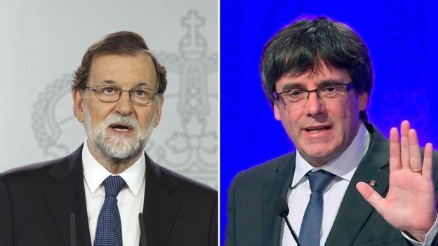 Thủ tướng Tây Ban Nha Mariano Rajoy (trái) và lãnh đạo Catalonia Carles Puigdemont (Ảnh: GETTY IMAGES/AFP)