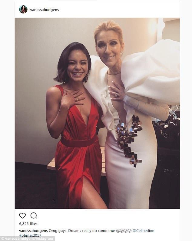 Vanessa Hudgens hào hứng chia sẻ ảnh chụp cùng Celine Dion trên trang cá nhân cùng lời nhắn: Ôi Chúa ơi, Giấc mơ đã thật sự thành sự thật!