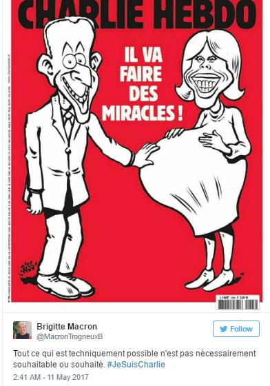 Bình luận của phu nhân Tổng thống đắc cử Pháp trên Twitter để phản pháo những lời dị nghị. (Ảnh: Twitter)