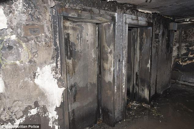 Khu vực thang máy của chung cư Grenfell cũng bị ngọn lửa tàn phá. (Ảnh: Cảnh sát Anh)