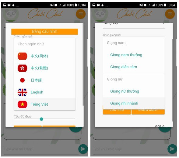 Chebi Chat hỗ trợ nhiều ngôn ngữ với các kiểu giọng đàm thoại khác nhau