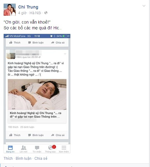 NSƯT Chí Trung từng là nạn nhân của trò tung tin đồn thật thiệt để câu like của một số kẻ xấu trên mạng xã hội. Ảnh: FBNV.