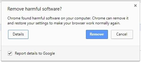 Hộp thoại cảnh báo được hiện ra khi Chrome phát hiện thấy phần mềm độc hại trên máy tính, cho phép người dùng gỡ bỏ phần mềm này và khôi phục trạng thái Chrome như ban đầu