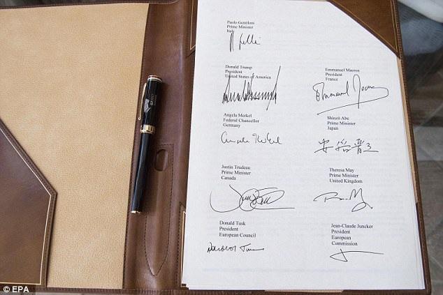Chữ ký của các nhà lãnh đạo G7 (Ảnh: EPA)