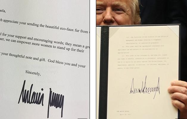 Chữ ký của Đệ nhất phu nhân Mỹ Melania Trump khá giống của Tổng thống Donald Trump. (Ảnh: Dailymail)