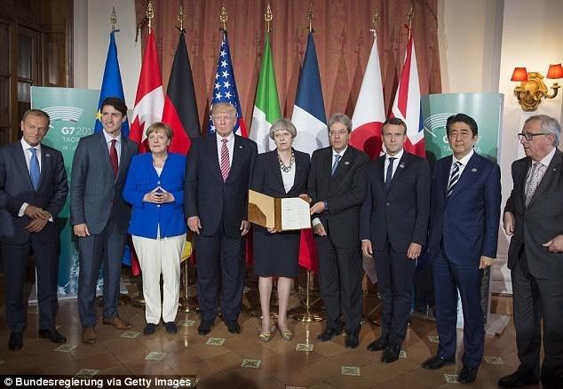 Các nguyên thủ quốc gia tại hội nghỉ thượng đỉnh G7 ở Sicily, Italia ngày 26/5 (Ảnh: Getty)