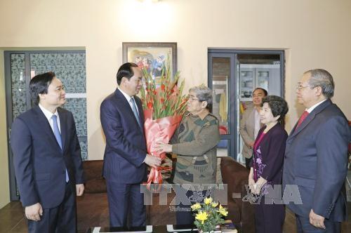 Chủ tịch nước Trần Đại Quang chúc Tết giáo sư Hà Minh Đức và gia đình