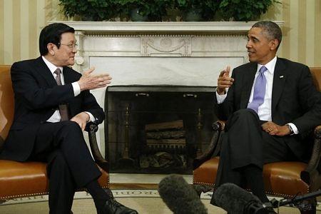 Tháng 7/2013, trong chuyến thăm Hoa Kỳ, Chủ tịch nước Trương Tấn Sang và Tổng thống Barack Obama đã ra tuyên bố chung thiết lập quan hệ đối tác toàn diện Việt Nam - Hoa Kỳ (ảnh: AFP)