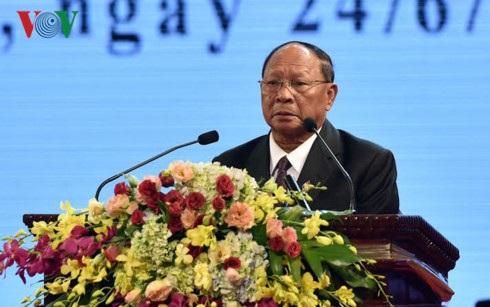 Chủ tịch Quốc hội Campuchia Heng Samrin phát biểu tại Lễ kỷ niệm 50 năm Ngày thiết lập quan hệ ngoại giao Việt Nam - Campuchia (Ảnh: VOV)