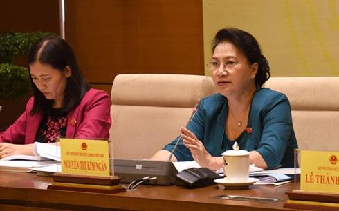 Chủ tịch Quốc hội Nguyễn Thị Kim Ngân chủ trì hội nghị sáng 27/5 (Ảnh: VOV)