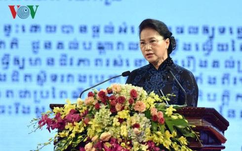 Chủ tịch Quốc hội Nguyễn Thị Kim Ngân phát biểu tại Lễ kỷ niệm 50 năm Ngày thiết lập quan hệ ngoại giao Việt Nam - Campuchia (Ảnh: VOV)