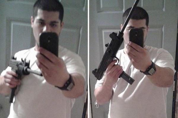 """Justin Bahler, 21 tuổi, chụp ảnh """"tự sướng"""" với một khẩu súng và chia sẻ lên trang Facebook của mình, trước khi thực hiện một vụ cướp ngân hàng tại bang Michigan (Mỹ). Cảnh sát sau đó đã dựa vào hình ảnh do Bahler đăng tải lên mạng xã hội và hình ảnh ghi được từ camera giám sát tại hiện trường để bắt giữ tên này."""