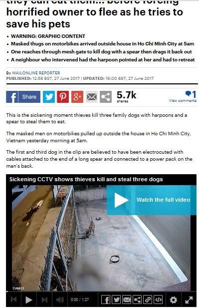 Đoạn clip ghi lại khoảnh khắc ba kẻ trộm chó dùng súng điện giết chết một chú chó đã được DailyMail đăng tải.