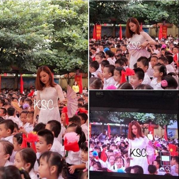 Hình ảnh của cô giao Bùi Thúy Ngân (hiện đang giảng dạy tại trường Tiểu học Tân Định, Hà Nội) được dân mạng lan truyền.
