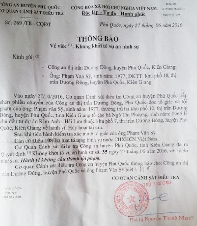 Thông báo không khởi tố vụ án hình sự của Công an huyện Phú Quốc.