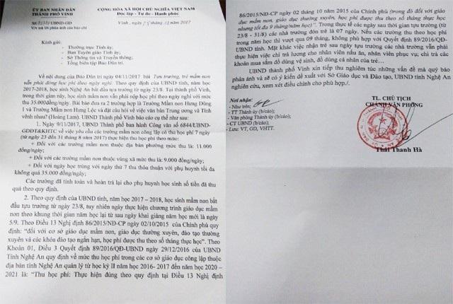 Công văn phản hồi nội dung Báo Dân trí đăng tải của UBND TP Vinh