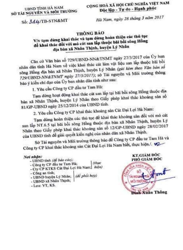 Thông báo của Sở Tài nguyên và Môi trường tỉnh Hà Nam yêu cầu dừng khai thác cát