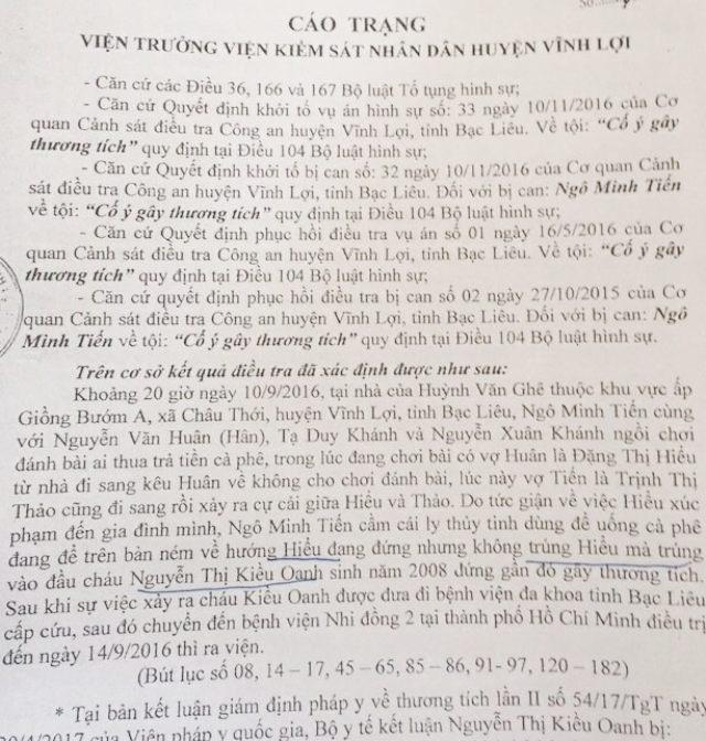 Cáo trạng của Viện kiểm sát nhân dân huyện Vĩnh Lợi truy tố Ngô Minh Tiến tội Cố ý gây thương tích được cho là không thuyết phục.