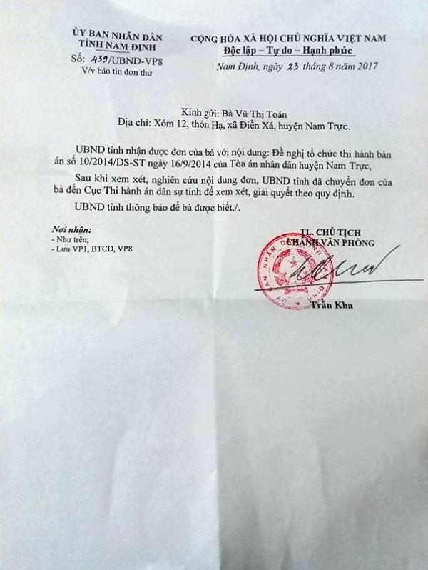 UBND tỉnh Nam Định chuyển đơn của bà Toán đến Cục thi hành án dân sự tỉnh Nam Định để xem xét, giải quyết theo quy định