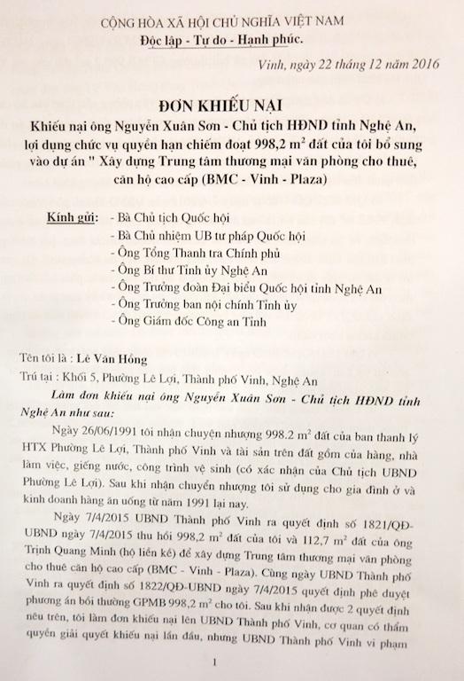 Yêu cầu Chủ tịch HĐND tỉnh Nghệ An nhanh chóng làm rõ việc thu hồi đất của dân! - 3