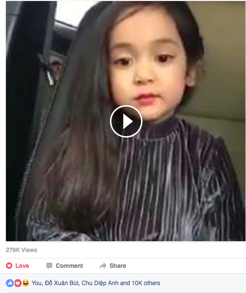 Rất nhiều người xem và chia sẻ clip hát nhép của cô bé 5 tuổi.