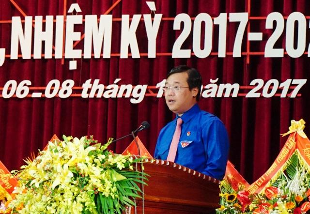 Bí thư thứ nhất Trung ương Đoàn Lê Quốc Phong phát biểu tại ĐH đại biểu Đoàn TNCS Hồ Chí Minh tỉnh Nghệ An nhiệm kỳ 2017 - 2022