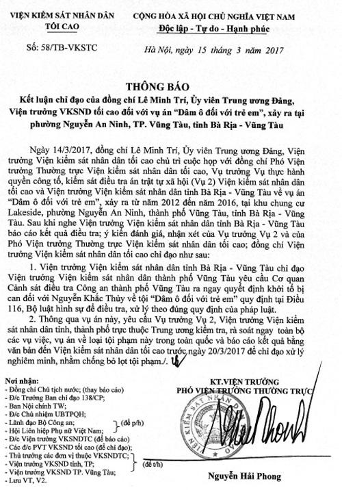 Văn bản chỉ đạo của Viện KSND Tối cao về vụ án Dâm ô đối với trẻ em xảy ra tại tỉnh Bà Rịa - Vũng Tàu. (Ảnh: Cổng thông tin điện tử Viện KSND Tối cao)