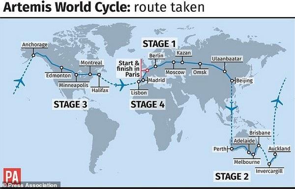 Bản đồ hành trình của Beaumont. Anh phải sử dụng máy bay để di chuyển qua lại giữa các đại dương
