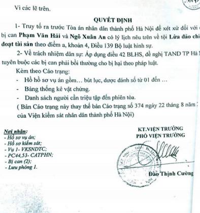 Một bản trạng truy tố các bị can trong vụ án chiếm đoạt tài sản của VKSND TP Hà Nội không có tên Phạm Thu Thuỷ trong khi sau đó bị can bị TAND Tối cao khởi tố tại Toà.