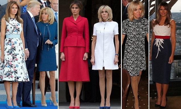 Lựa chọn trang phục của đệ nhất phu nhân Pháp Brigitte Macron và đệ nhất phu nhân Mỹ Melania Trump trong 3 lần tiếp xúc nhân chuyến thăm Paris kéo dài 2 ngày của Tổng thống Mỹ Donald Trump (Ảnh: Dailymail)